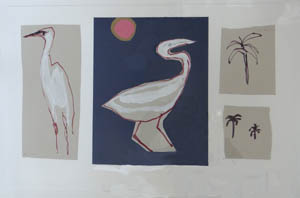 Two White Birds and Threee Palms
